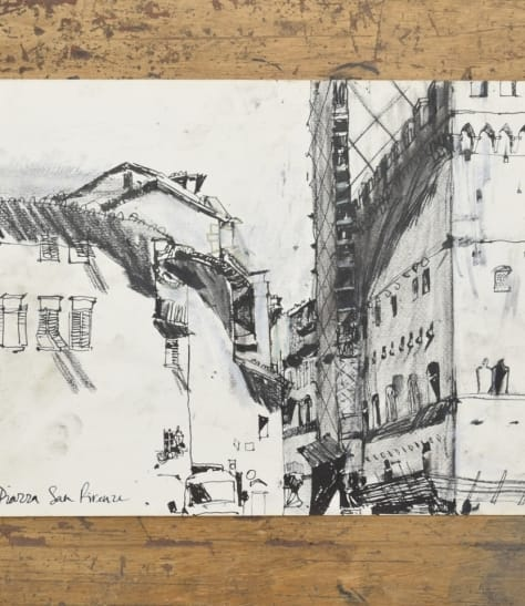 'Piazza San Firenze', ink and charcoal