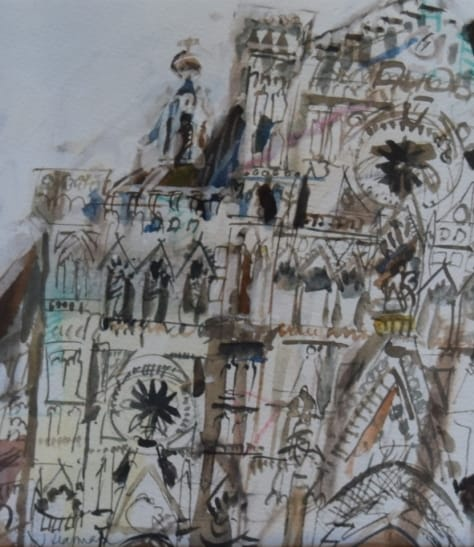 """The Cathedral"", facade, drawing in ink and watercolor"