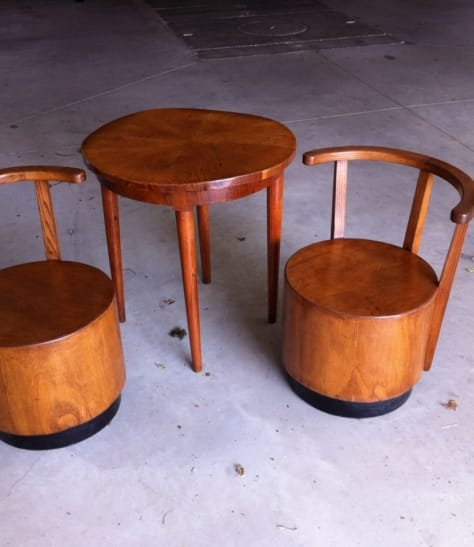 Small table with two armcahirs 1940's