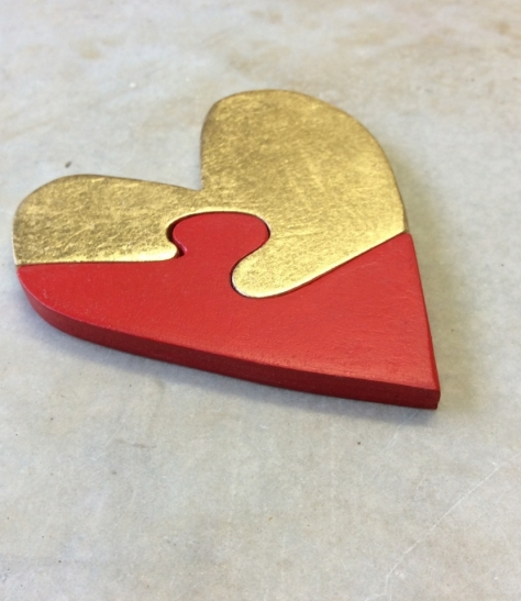 Red and gold heart puzzle