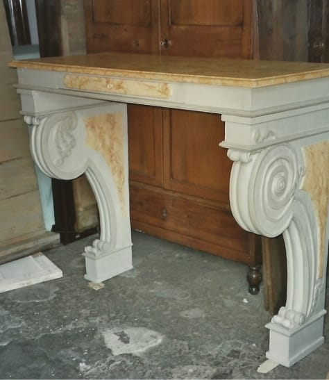 Console with faux marble top