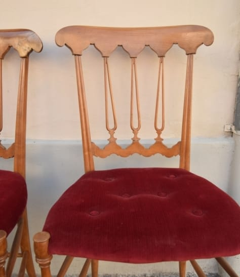 Pair of Chiavarine cherry wood chairs