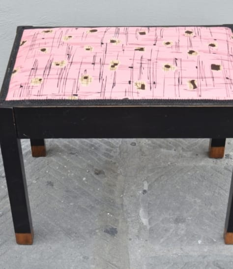 Upholstered stool in original Emilio Pucci silk