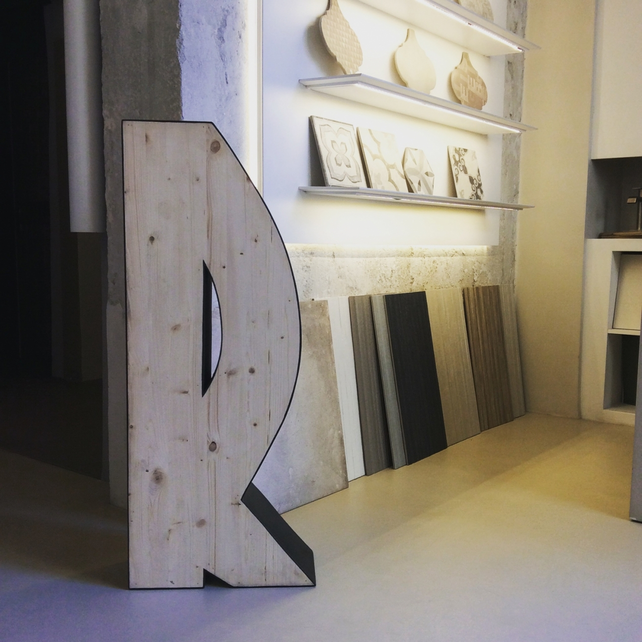 Extra large size wooden letters Jane Harman storage and furniture restoration in Florence