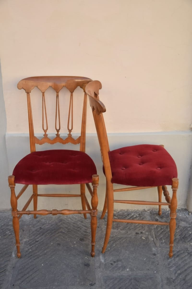 Pair of Chiavarine cherry wood chairs Jane Harman storage and furniture restoration in Florence