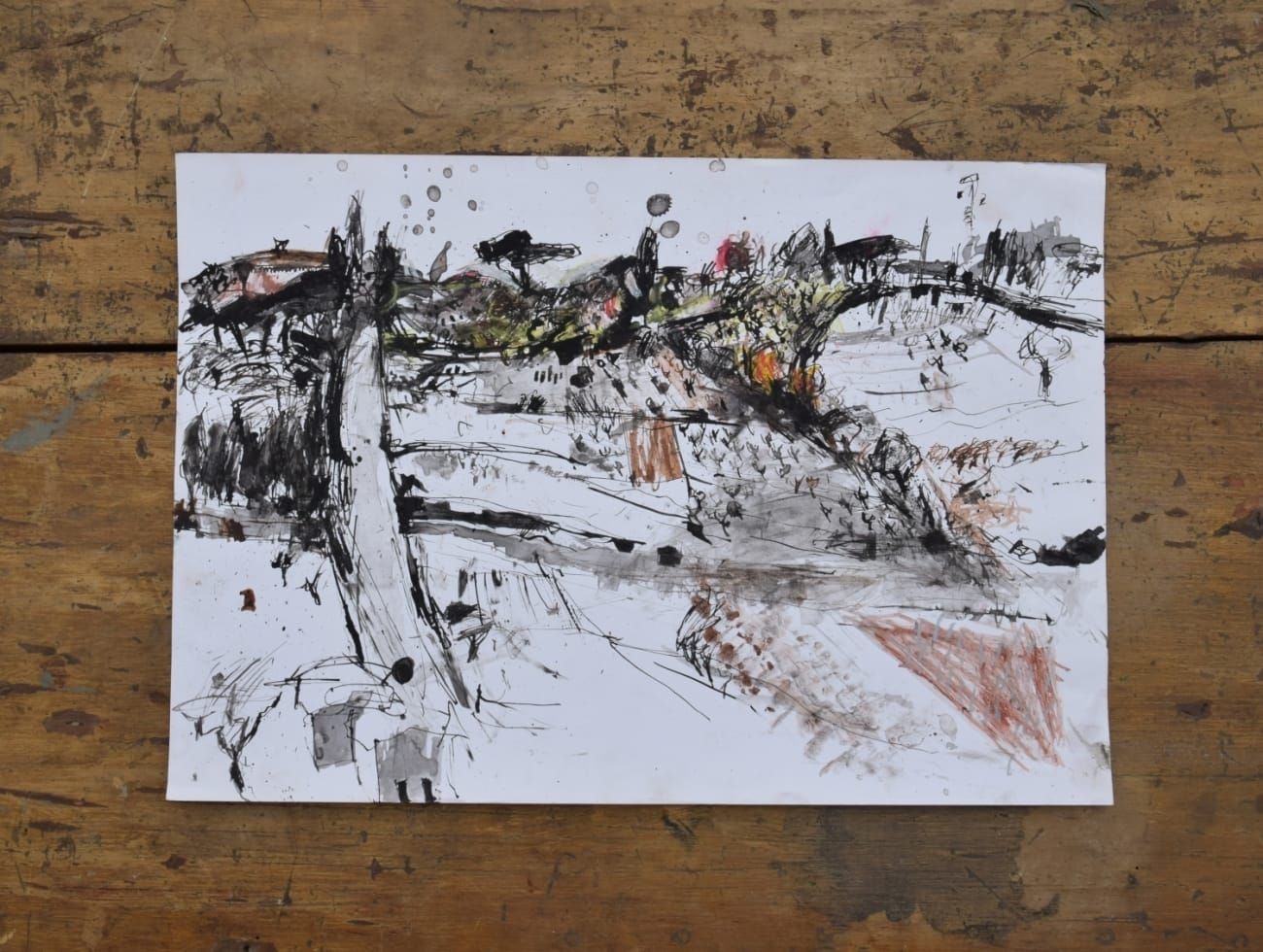 'Tuscan Landscape', drawing in ink Jane Harman storage and furniture restoration in Florence