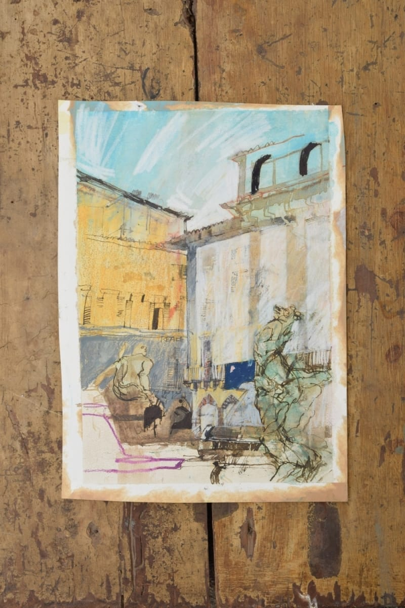 Ink and pastel drawing Jane Harman storage and furniture restoration in Florence