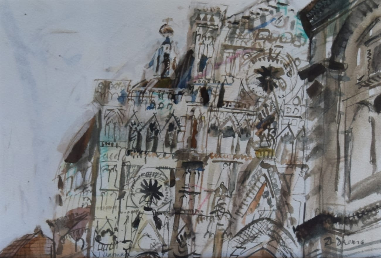 """The Cathedral"", facade, drawing in ink and watercolor Jane Harman storage and furniture restoration in Florence"